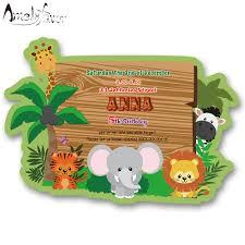 Safari Animales Tema Invitacion Tarjetas Fiesta Suministros Selva