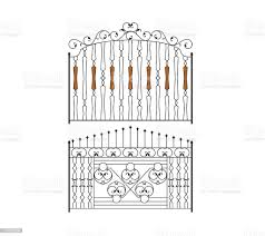 Wrought Iron Gate Door Fence Design Stock Illustration Download Image Now Istock