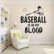 Amazon Com Baseball Wall Decal Baseball Stickers Decals Baseball Wall Stickers Kids Room Home 761re Home Kitchen