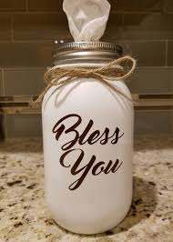 Bless You Decal Permanent Vinyl Decal Perfect For Mason Jar Tissue Holders Tissue Boxes Home Decor Signs Car Windows Yeti Cups Mugs Mason Jars Permanent Vinyl Vinyl Decals