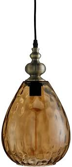 indiana dimpled amber glass teardrop