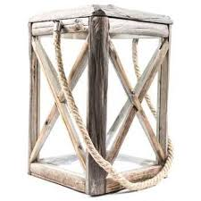 square wood rope lantern with images