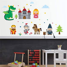 Amazon Com Xbkplo Wall Sticker Fairy Tales Castle Wall Decal Removable Vinyl Mural Art Wall Stickers Decor Boy Kids Room Bedroom Nursery Living Room Tv Wall Decoration 19 5x27 5 In Home Kitchen