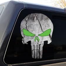 Punisher Skull Cracked Rock Green Eyes Stone Military Decal Etsy