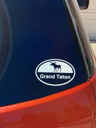 Grand Teton Sticker Moose Decal Grand Teton National Park Etsy