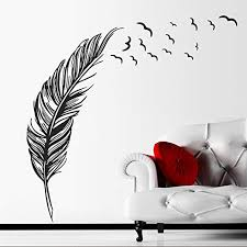 Amazon Com Bibitime Birds Flying Feather Large Wall Stickers Vinyl Art Decals Modern Room Decor 8857 Cm Black Right Kitchen Dining