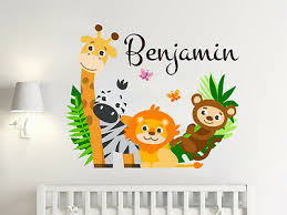 Personalize Name Sticker Full Color Safari Nursery Wall Murals Boys Decals Sd23 Ebay