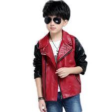 turn down collar boys leather jacket