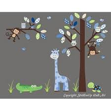 Nursery Wall Decals Baby Boy S Wall Decals Blue Nursery Decals Tall Giraffe Decal Monkey Decal Alligator Decal Turtle Decal Cute Wall