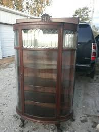 antique oak curved leaded beveled glass
