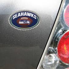 Seattle Seahawks Bling Football Domed Metal Emblem Car Decal