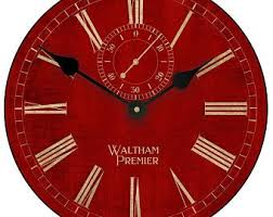 Red Wall Clock Etsy