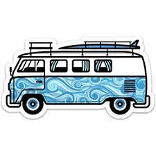 Amazon Com Stickeroonie Classic Aloha Surf Van Vinyl Sticker Cool Water Resistant Sticker 4 X 2 7 Size Hippy Travel Outdoor California Kitchen Dining