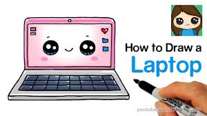draw a laptop computer easy and cute