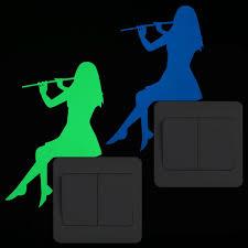 Flute Music Decal Vinyl Sticker Light Switch Girl Classic Instrument Home Decor