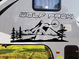 Amazon Com Minglewood Trading Wolf Mountain Moon Vinyl Sticker Rv Camper Graphics Scenery Die Cut Decal 55w X 22h Inches Automotive