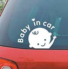 Amazon Com Car Decal Sticker Car Decal Sticker Baby In Car Baby Safety Sign Car Sticker White Sports Outdoors