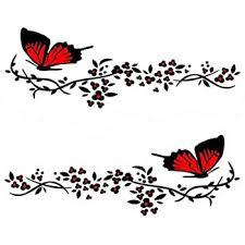 Amazon Com Practisol Car Decals For Women 1 Set Butterfly Flower Car Decal Stickers Vinyl Car Side Decal Car Hood Decals For Cars Suv Universal Scratch Hidden Car Sticker Red Automotive