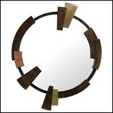 round mirror with walnut root veneer