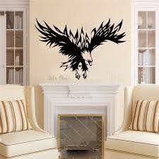 Vinyl Wall Sticker Of Eagle Home Decoration Wild Animals Eagle Wall Decal Flying Hawk Wall Murals Removable Poster Ac518 Wall Stickers Aliexpress