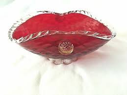 vintage quilted ruby red murano glass