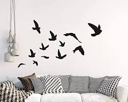 Amazon Com Flying Birds Wall Decal Set Of 12 Vinyl Wall Decal For Office Home Decor Room Art Birds Wall Sticker For Living Room Y32 Black Home Kitchen