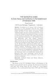 pdf the nahdlatul ulama its early history and contribution to