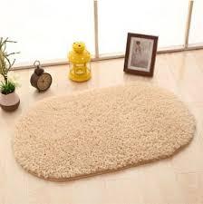 Sunsky Faux Fur Rug Anti Slip Solid Bath Carpet Kids Room Door Mats Oval Bedroom Living Room Rugs Size 120x200cm Light Camel