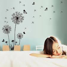 Black Flying Dandelion Wall Decals Home Decor Wall Stickers Living Room Bedroom Wall Paper Poster Romantic Diy Decor Art Mural Floral Wall Decals Floral Wall Stickers From Magicforwall 3 6 Dhgate Com
