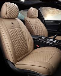 beige leather car seat cover luxury