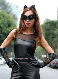 catwoman makeup red lips black mask
