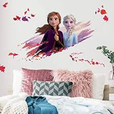 Amazon Com Roommates Disney Frozen 2 Elsa And Anna Giant Peel And Stick Wall Decals Purple Orange Red Home Improvement
