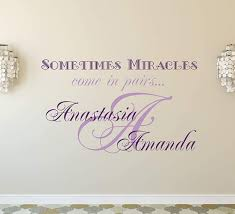 Personalized Name Wall Decal For Twins Sometimes Miracles Come In Pairs Quote Decal Initial Vinyl Sticker Home Decor Aa307 22 Tall X 36 Wide Amazon Com
