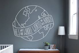 He S Got The Whole World In His Hands Wall Decal Church Nursery Wall Decor Missions Wall Mural Kids Ministry Decor Ideas Kids Wall Murals Nursery Wall Decor Wall Murals