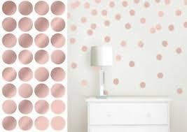 Rose Gold Polka Dot Stickers Wall Art Vinyl Decals Kids Circle Spots Child Decor Ebay