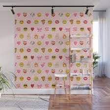 Emoji Pattern Pink Background Perfect Kids Room Decor With Emojis Wall Mural By Charlottewinter Society6