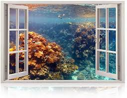 Realistic Window Wall Decal Peel And Stick Coral Decor For Living Room Bedroom Office Playroom Underwater Wall Murals Removable Window Frame Style Ocean Wall Art Vinyl Poster Wall Stickers