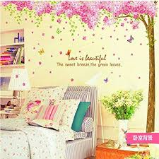 Amazon Com Amaonm Giant Huge Size Removable Pink Red Romantic Cherry Blossom Tree Wall Decal Diy Pvc Butterfly Wall Decorations Art Decor Stickers Murals Wallpaper For Nursery Room Living Room Wall Corner Kitchen