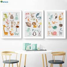 Alphabet Lion Deer Fox Rabbit Zebra Nursery Nordic Poster And Prints Wall Art Canvas Painting Wall Pictures Baby Kids Room Decor Painting Calligraphy Aliexpress