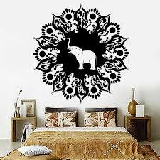 Mandala Religious Vinyl Wall Decal Elephant Hinduism Meditation Living Room Bedroom Wall Sticker Removable Art Decor Mural Z321 Wall Stickers Aliexpress
