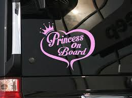 Princess On Board Cute Vinyl Car Decal Sticker 6 W W Heart Crown Design Ebay