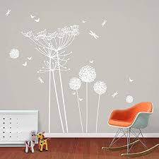 Amazon Com Wall Decal Vinyl Sticker Decals Art Decor Design Dandelion Butterfly Dragonfly Flower Nature Grass Kids Bedroom Living Room Nursery R263 Home Kitchen