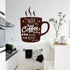 Coffee Wall Decal Cup Of Coffee Wall Sticker For Kitchen Home Dining Room Decor Cafe Logo Sign Window Wall Art Mural N195 Wall Stickers Aliexpress