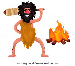 caveman icon funny cartoon character