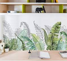 Amazon Com Green Banana Leaf Tropical Plants Wall Stickers Peel And Stick Palm Tree Plant Leaves Wall Decals Diy Wall Art Decor Home Decorations Jungle Wallpaper For Living Room Bedroom D Kitchen