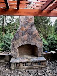 diy stone outdoor fireplace easy