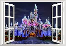3d View Disney Castle Window View Decal Wall Sticker Home Decor Wall Stickers For Kids Room Decals Kids Decor Wall Stickers Aliexpress