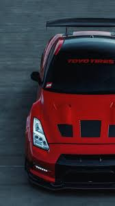nissan gt r r35 red car front view