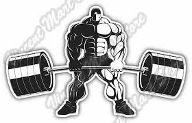 Bodybuilder Barbell Weightlifting Olympic Car Bumper Vinyl Sticker Decal 5 X4 Ebay