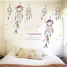 Tuantuan 1 Sheet Dream Catcher Feathers Wall Sticker Mural Art Removable Decals For Classroom Offices Kids Bedroom Bathroom Living Room Decoration Amazon Com